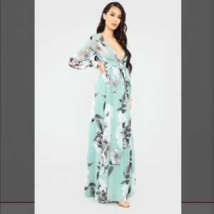 Mint maxi dress with floral pattern.